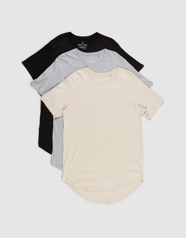 Factorie - Curved T-Shirt - 3-Pack