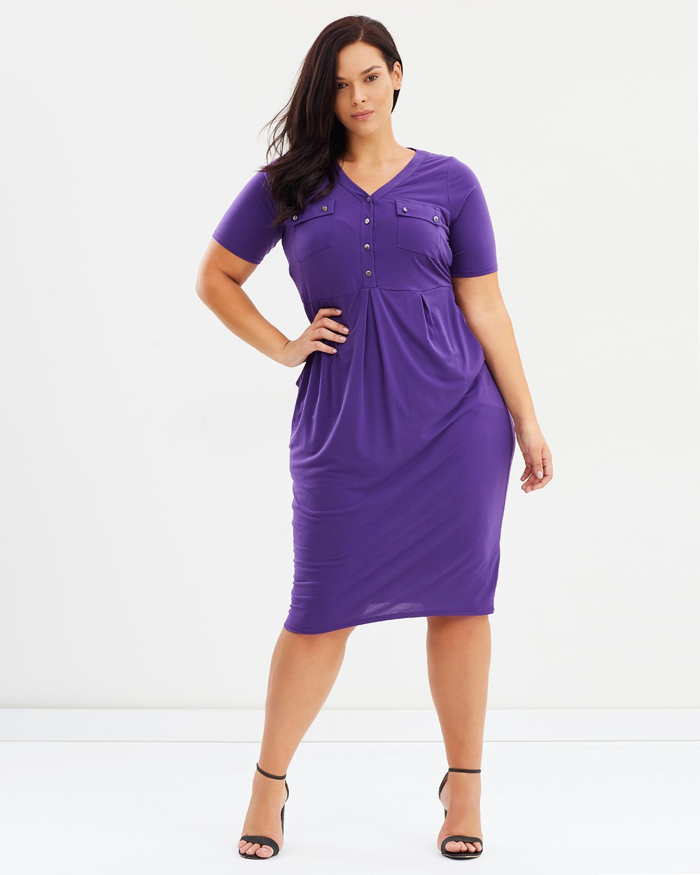 EVANS Button Pocket Dress Dresses Purple Button Pocket Dress