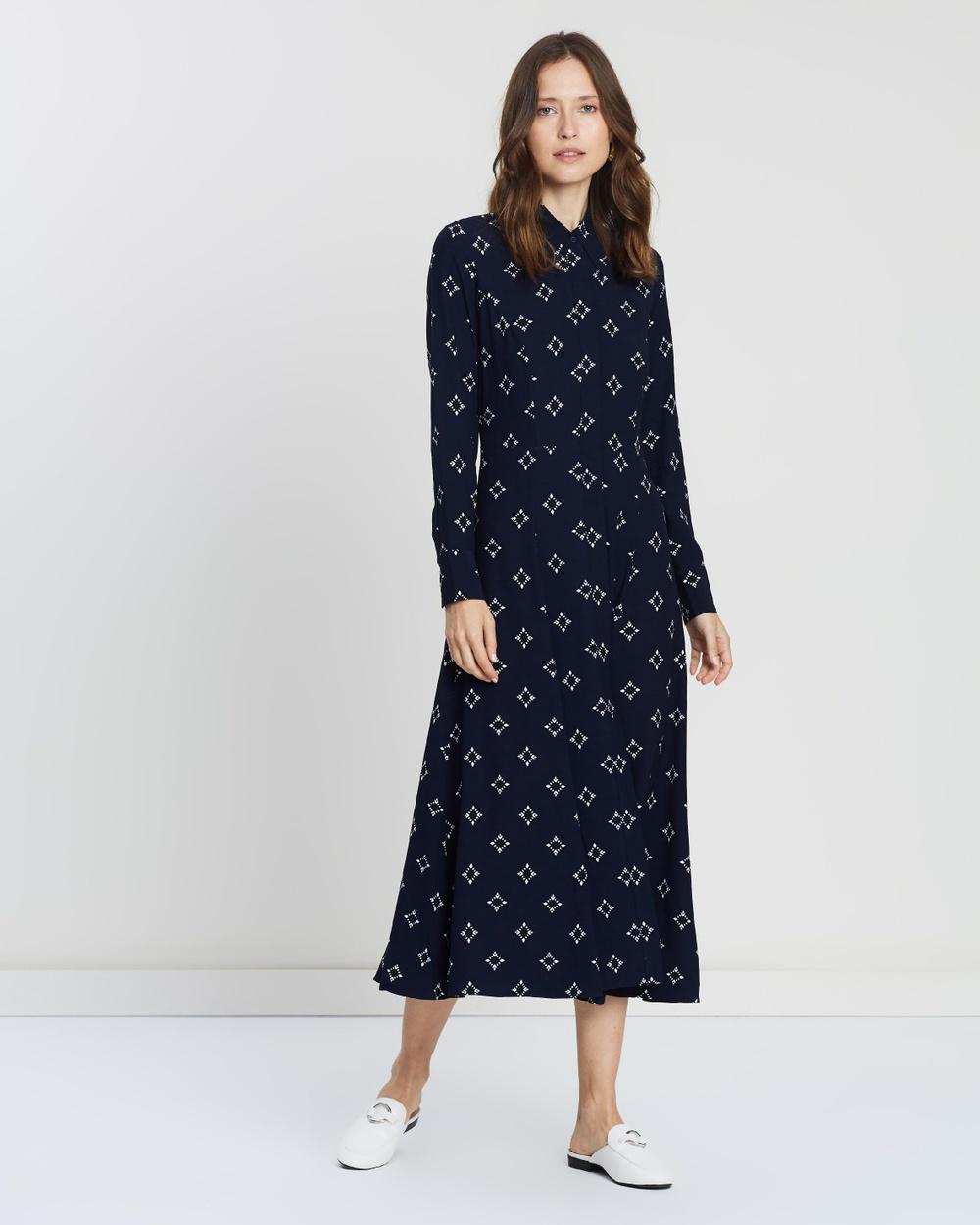 Ivy & Oak AOP Print Raute & Navy Blue Pointed Collar Dress
