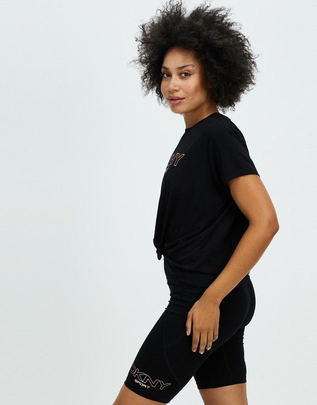 Women Ombre Logo Knot Front Tee