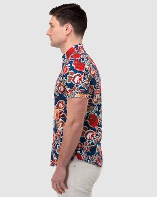 Brooksfield Floral Print Short Sleeve Casual Shirt - Casual shirts (Navy)