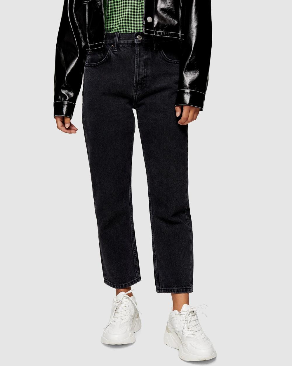 TOPSHOP Petite Editor Jeans High-Waisted Black Australia