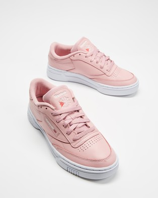 Reebok Club C Stacked   Women's - Lifestyle Sneakers (Classic Pink, Classic Pink & White)