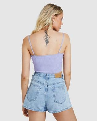 Alice In The Eve Emma Rib Knit Crop Top - Tops (LILAC)