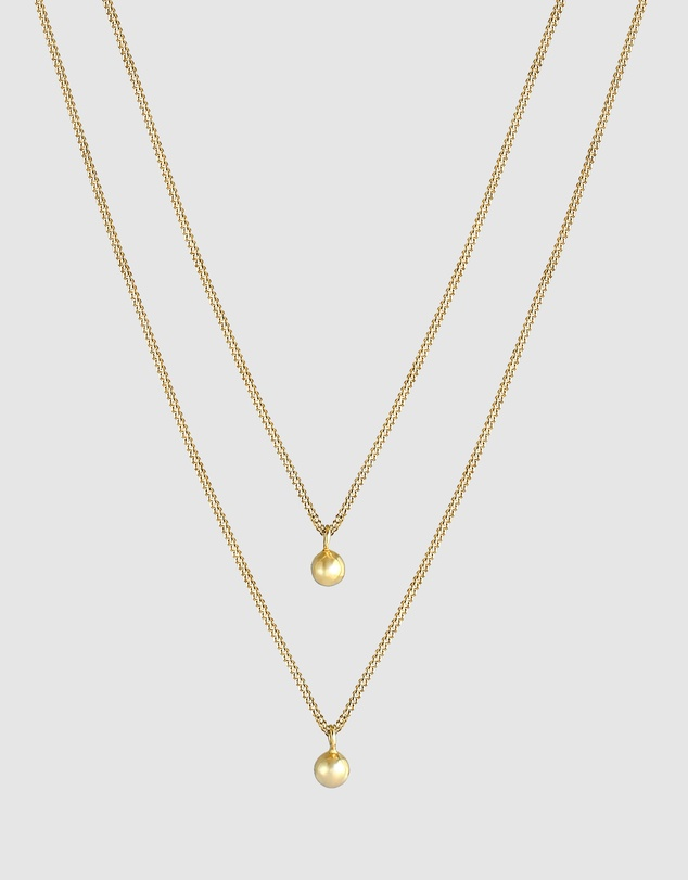 Women Necklace Layer Panzer Silver Beads Basic in 925 Sterling Silver Gold Plated