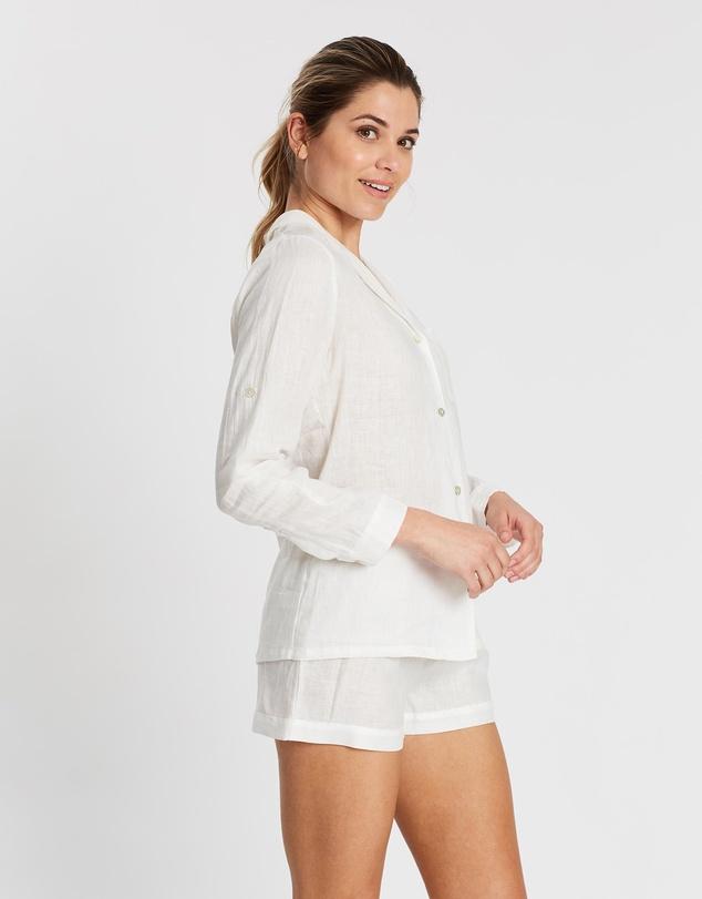 Women Linen Long Sleeve PJ Set