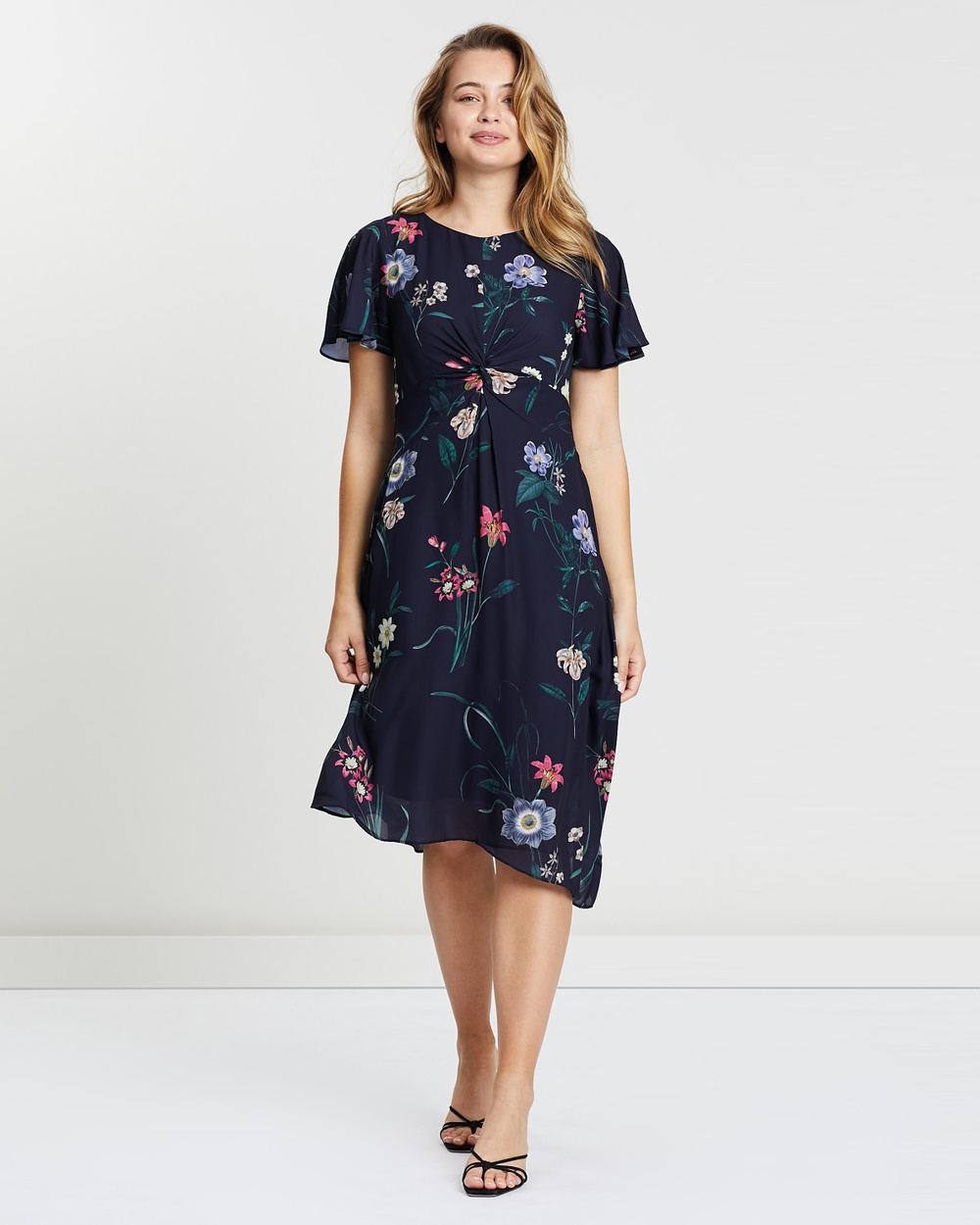 Oasis Multi Blue Lydia Lilly Twist Front Midi Dress