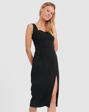 Forcast Isa Sweetheart Midi Dress - Bodycon Dresses (Black)