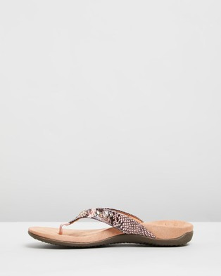 Vionic Lucia Toe Post Sandals - All thongs (Camelia Snake)