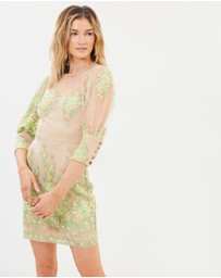 Cooper St - Lemongrass High Neck Lace Dress