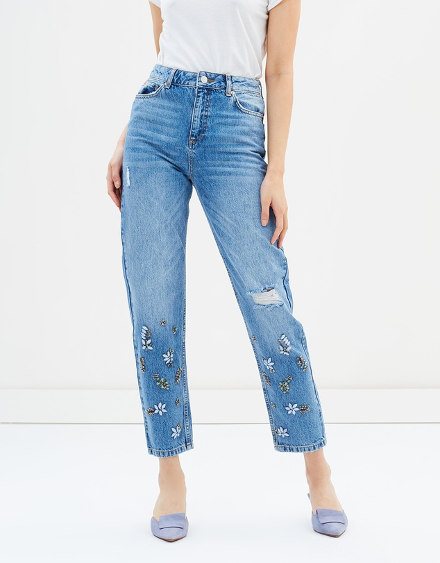 Miss Selfridge - Mid Authentic High Rise Embellished Jeans