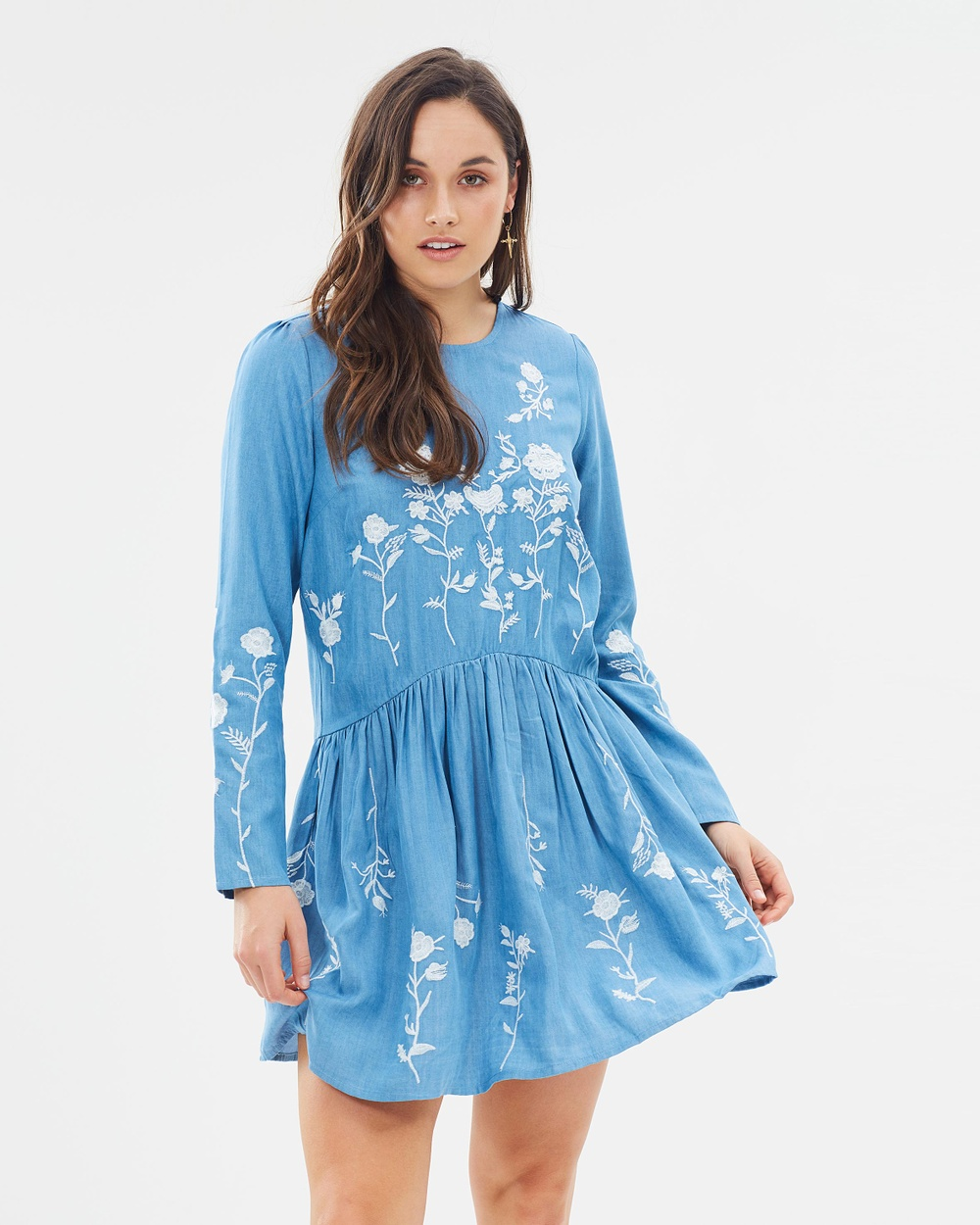 Dorothy Perkins Embroidered Drop Waist Dress Dresses Mid Washed Denim Embroidered Drop Waist Dress