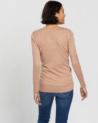 Angel Maternity Merino Wool Knit Long Sleeve Top - Tops (Dusty Pink)