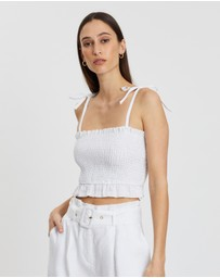 AERE - Shirred Linen Cami Top