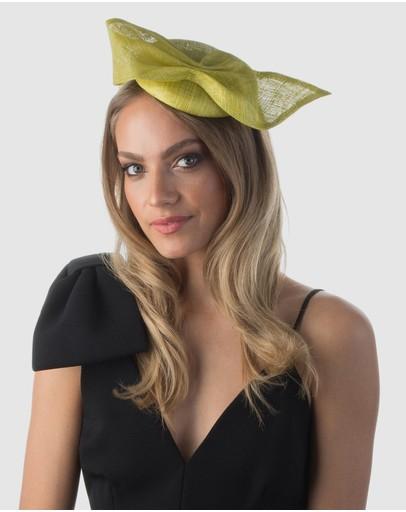 Olga Berg Gwendolyn Sinamay Trimmed Button Chartreuse