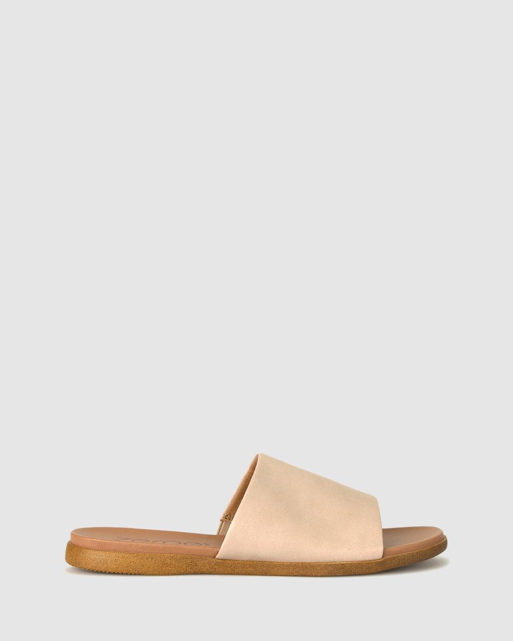 Zeroe Sofia Flat Mule Sandals Flats Latte