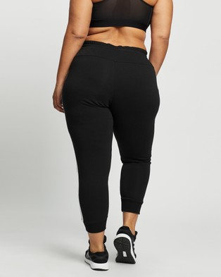 adidas Performance French Terry 3 Stripes Pants Plus Size - 7/8 Tights (Black & White)