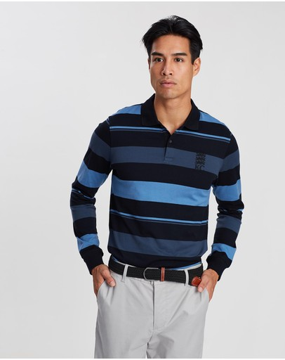 Kent and Curwen - Horizontal Striped Long Sleeve Polo Shirt