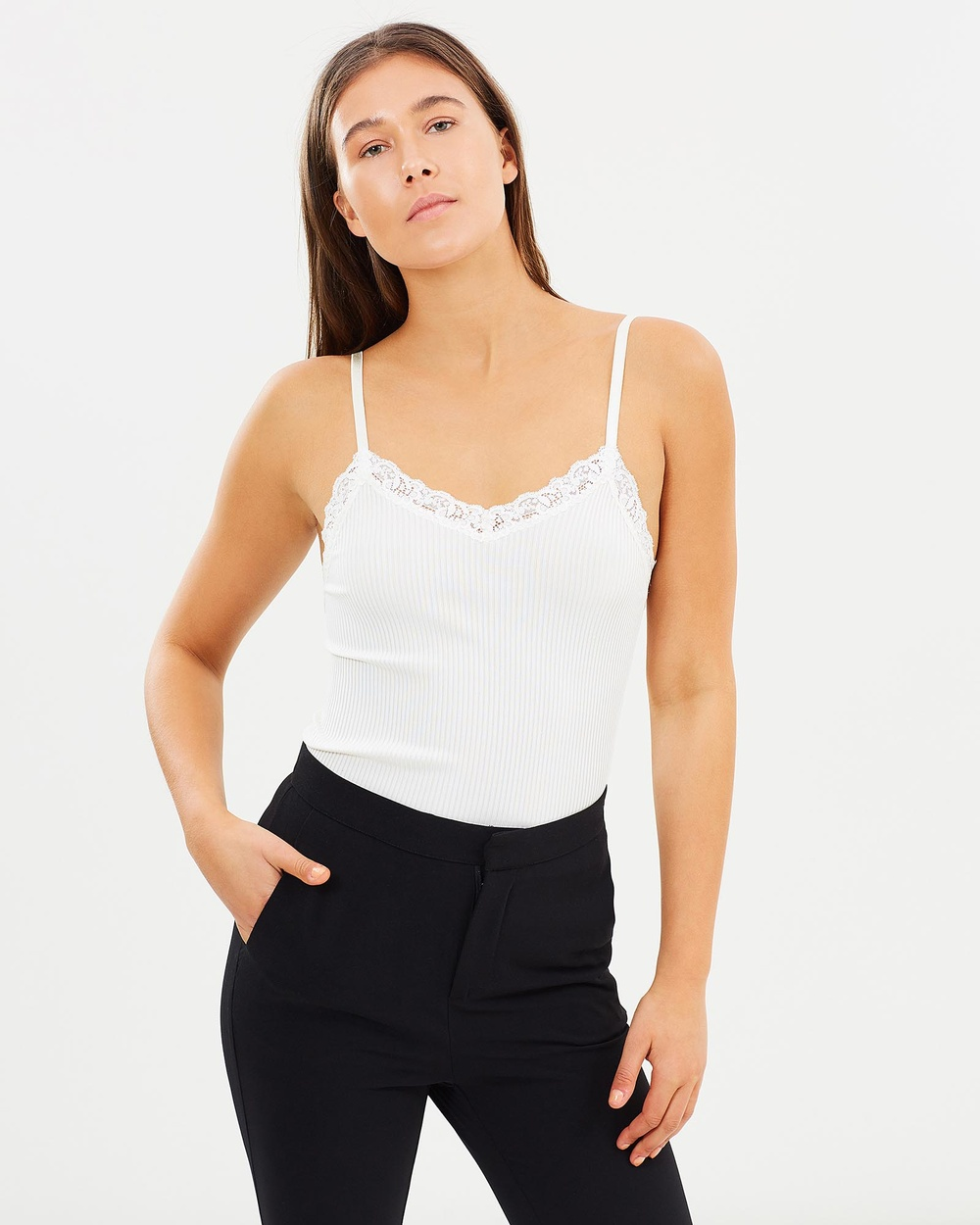 Grace Willow Ella Seamless Lace Cami Tops Cream Ella Seamless Lace Cami