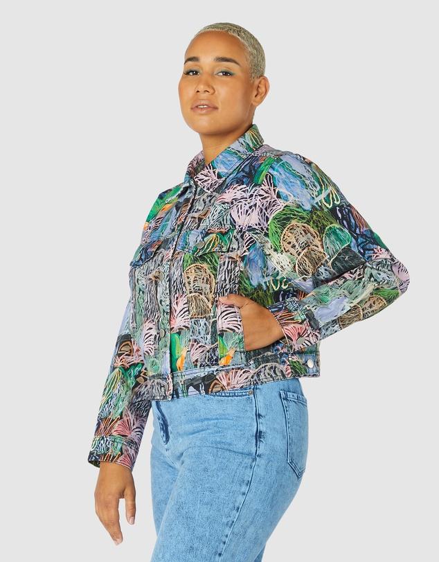 Women Violet Landscape Denim Jacket