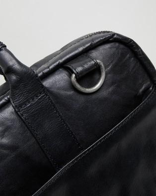 Double Oak Mills Harry Leather Briefcase - Bags (Black)