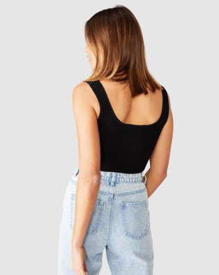Supre Mikaela Square Neck Knit Top - Cropped tops (Black)