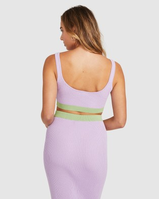 Alice In The Eve - Colour Block Knit Crop Top Tops (LILAC)