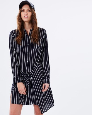 MINKPINK – Laneways Shirt Dress – Dresses (White & Navy)