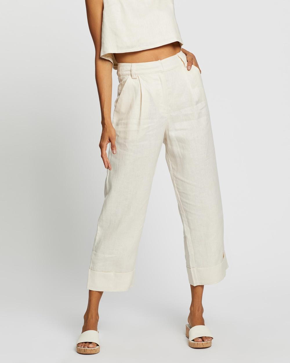 AERE Tailored Linen Pants Sand