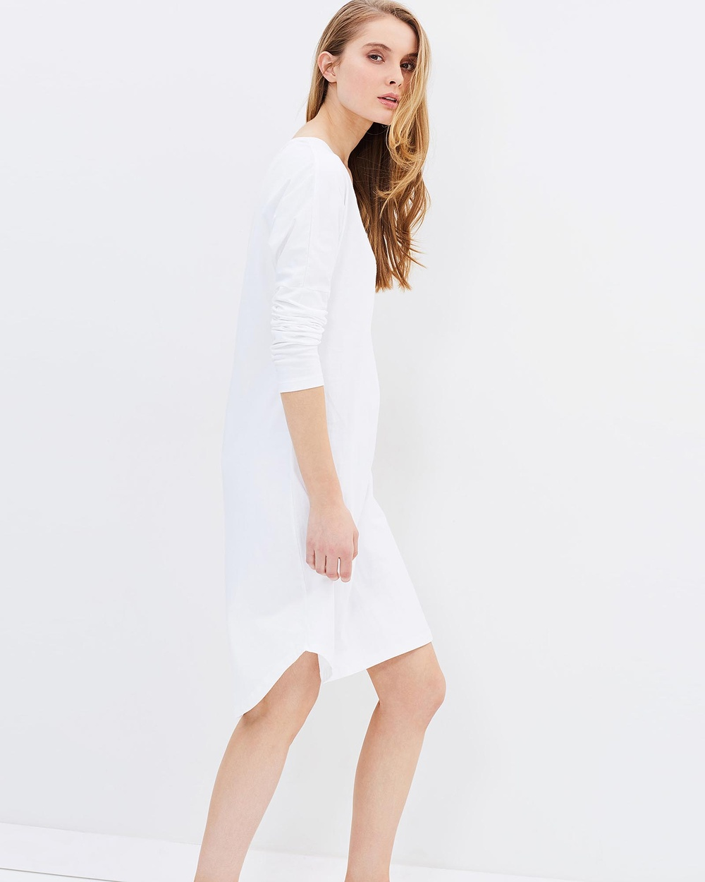 Cloth & Co. Organic Cotton Long Sleeve Dress Dresses White Organic Cotton Long Sleeve Dress