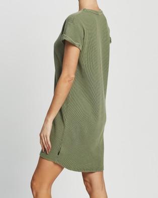 Silent Theory Waffle Tee Dress - Dresses (KHAKI)