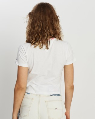 Tommy Jeans Branded Neck Tee - T-Shirts & Singlets (White)