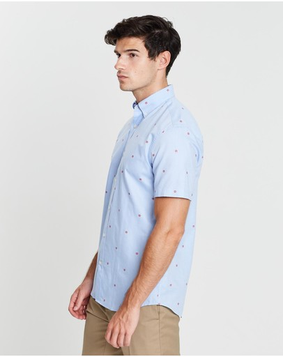 Gieves And Hawkes Embroidered Button Down Shirt Light Blue