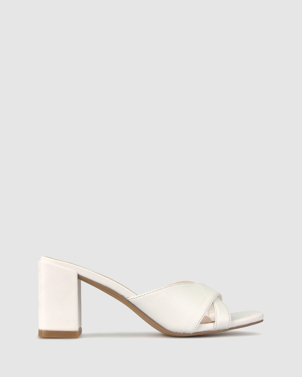 Betts Lillydale Block Heel Mules Sandals White Australia