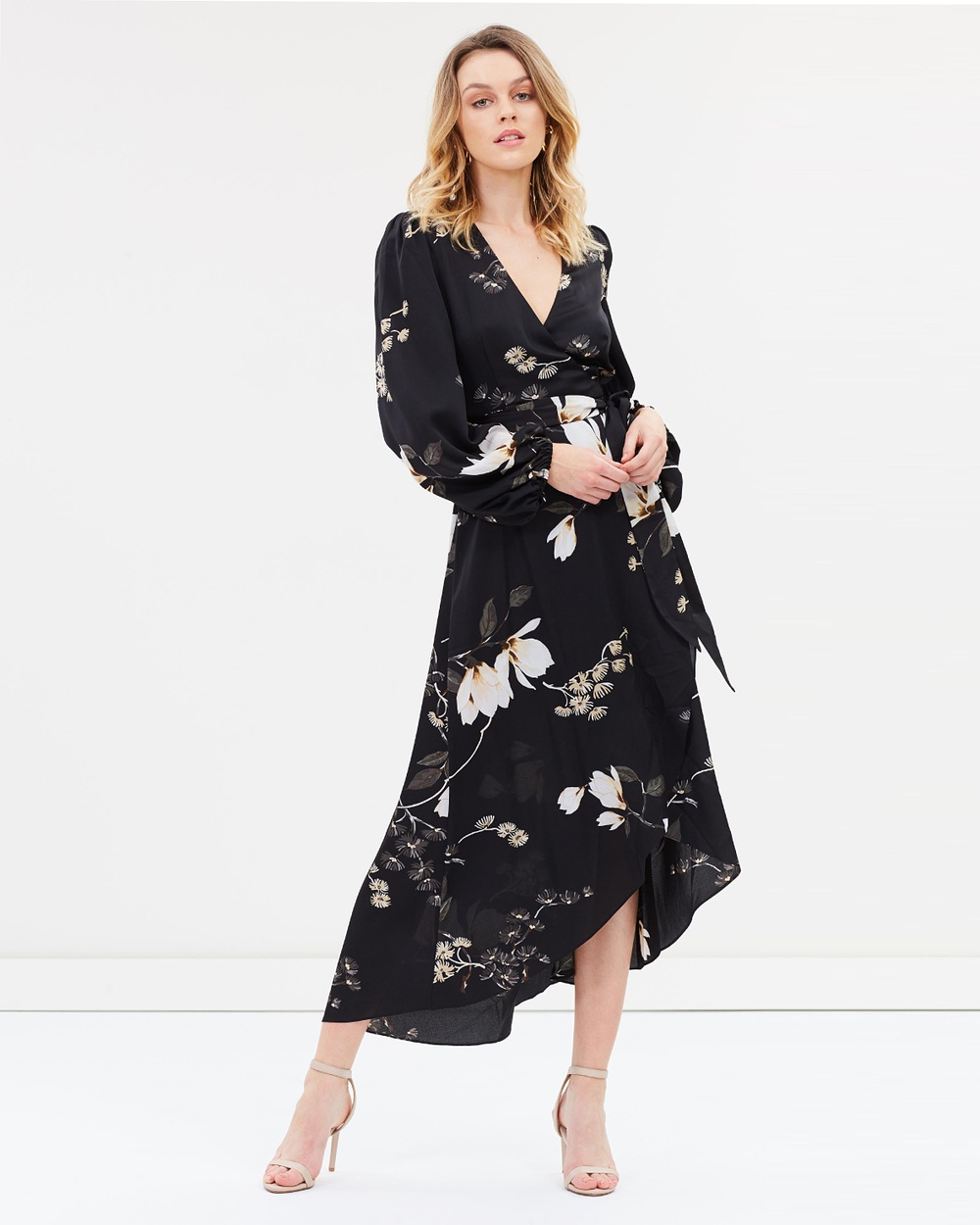 Shona Joy Black & Multi Wrap Midi Dress