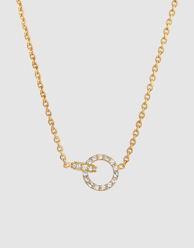 Women Necklace Circle with Crystals in 925 Sterling Silver Gold Plated