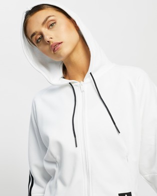 adidas Performance Wrapped 3 Stripes Full Zip Hoodie - Hoodies (White & Black)