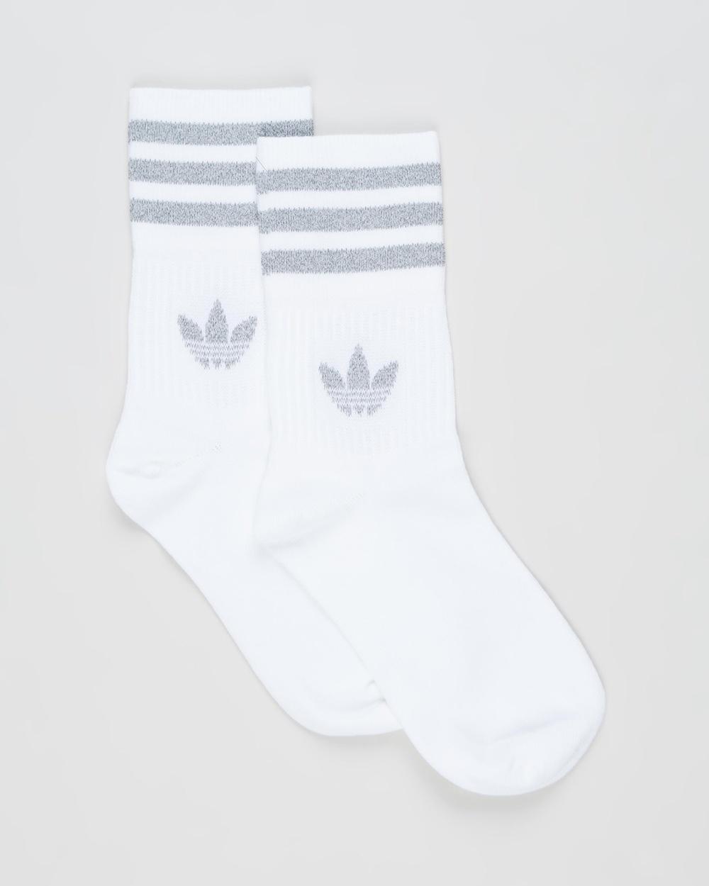 adidas Originals 2 Pack Crew Socks Unisex White & Reflective Silver 2-Pack