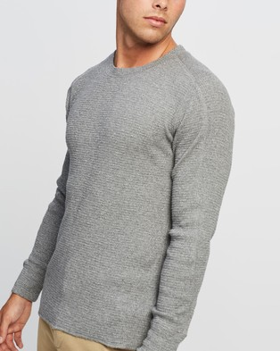 RRL Waffle Cotton Crew Neck Knit - T-Shirts & Singlets (Grey Heather)