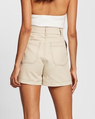 AERE Organic Cotton Overstitch Shorts - High-Waisted (Cream)