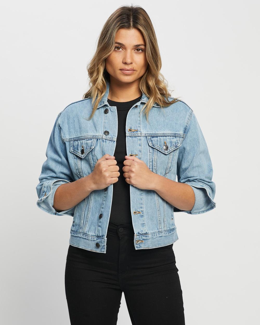 Atmos&Here Jackie Recycled Cotton Blend Denim Jacket jacket Vintage Blue Australia