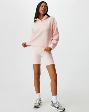 Cotton On Body Active Crop Sherpa Pull Over Sweats Pink Sherbet