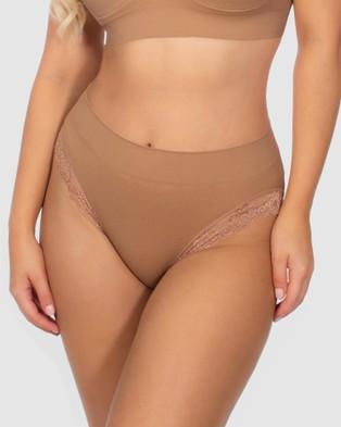 B Free Intimate Apparel Contour Lace High Cut Briefs   3 Pack - Bikini Briefs (Tan)
