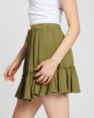 All About Eve - Savanna Washed Skirt - Skirts (Green) Savanna Washed Skirt