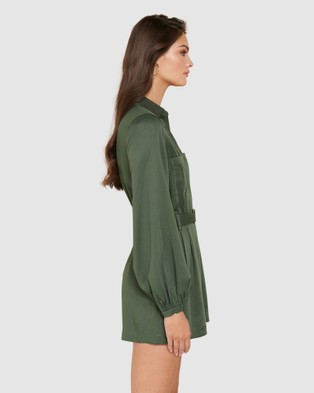 Forever New Imogen Belted Playsuit - Jumpsuits & Playsuits (Khaki)