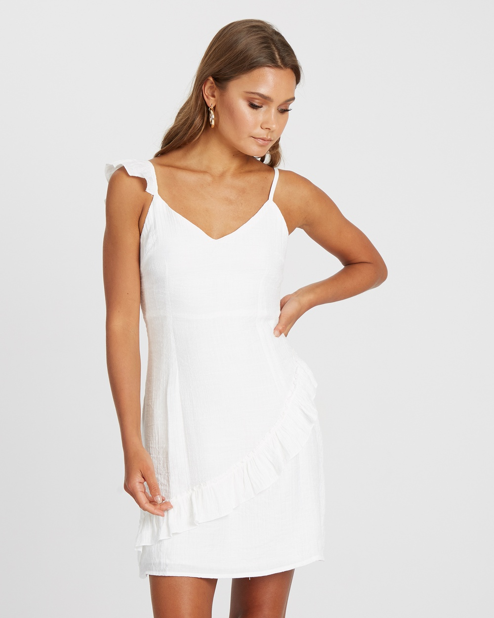 Calli Katey Frill Mini Dress Dresses White Katey Frill Mini Dress