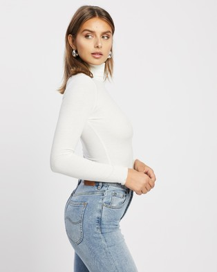 Atmos&Here Rima Rib Turtle Neck Jumper Cropped tops White