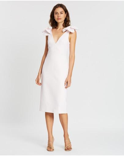 By Johnny. V Plunge Bow Shoulder Midi Dress Lilac White