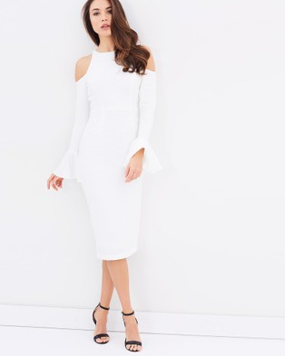 Shona Joy – Lori Open Shoulder Body Con Dress – Bodycon Dresses (White)