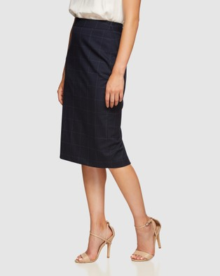 Oxford Peggy Eco Checked Suit Skirt - Leather skirts (Blue)